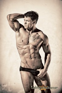 Photo of handsome muscular male athlete